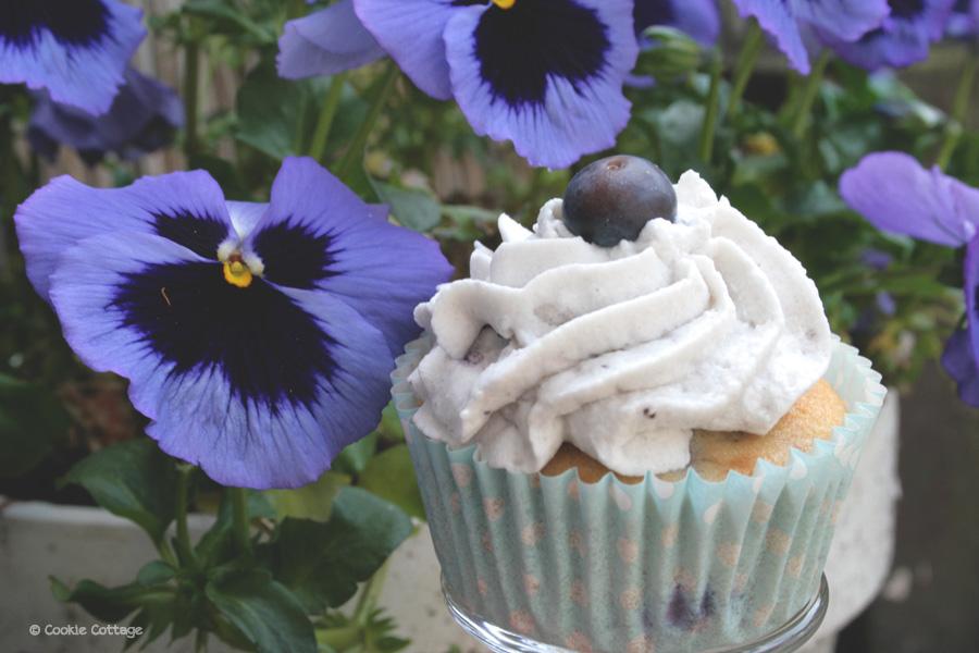 Bosbessen cupcakes met bosbessen slagroom