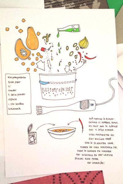 Flespompoensoep - geïllustreerd recept