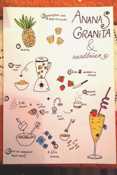 Geïllustreerd recept voor ananas granita
