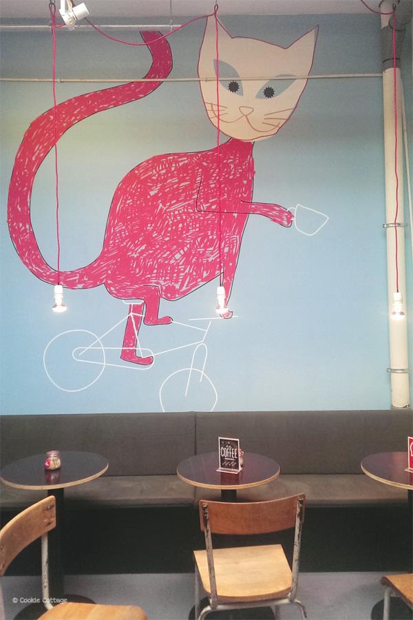 Muurschilderij bij Bikes & Coffee
