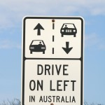 Australia - drive left sign