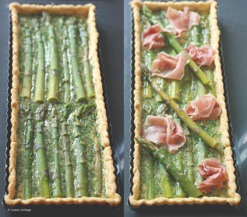 Hartige taart met groene asperges en prosciutto ham