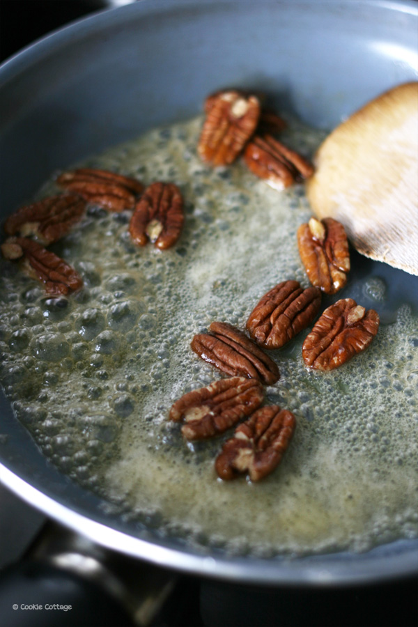 caramelizing pecans in moose maple butter.