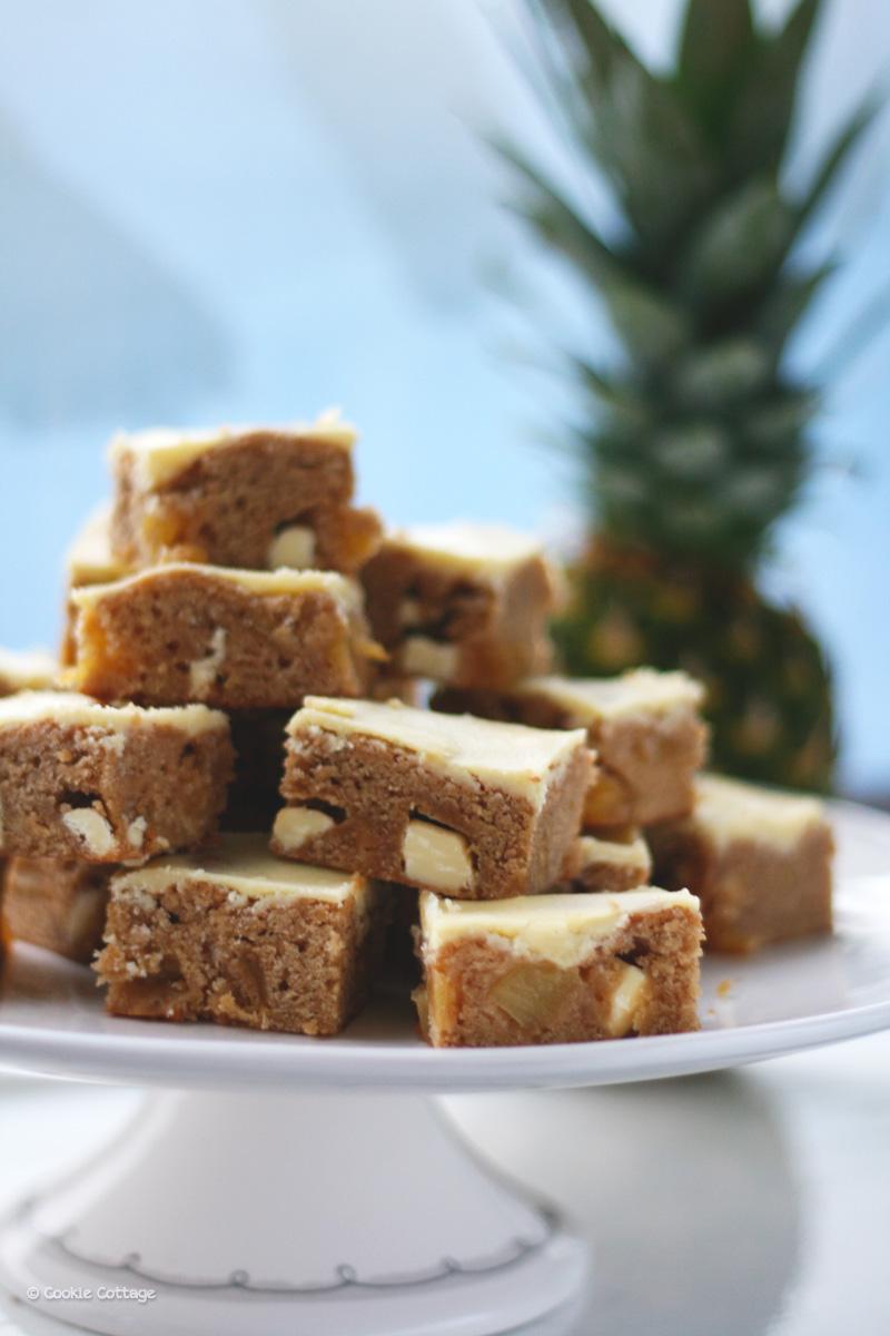 Ananas blondies met witte chocolade chunks