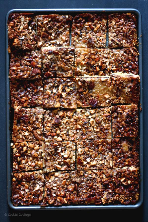 Sticky plaatkoek met noten en chocolade (koemelkvrij)