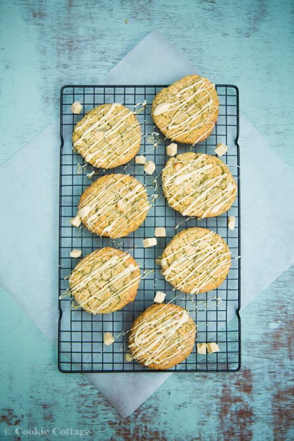 chocolate chip cookies recept met witte chocolade, maanzaad en limoen